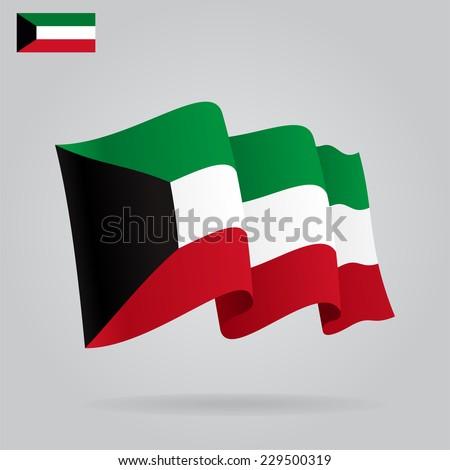 Flat and waving Kuwait Flag. Vector illustration - stock vector