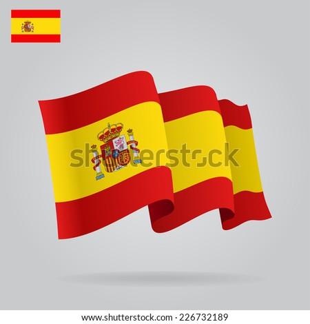 Flat and waving Spanish Flag. Vector illustration - stock vector