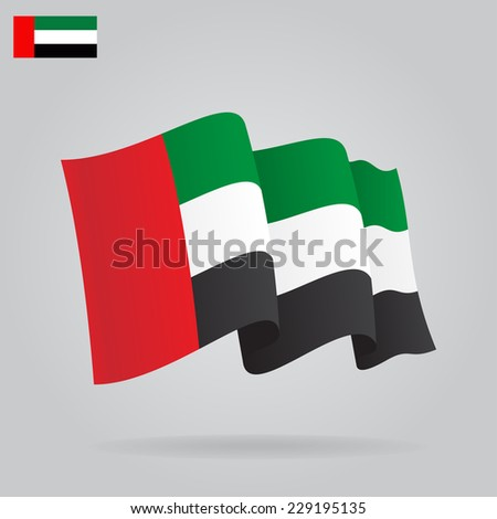 Flat and waving United Arab Emirates Flag. Vector illustration - stock vector