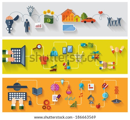 Flat and web design banners. Set of conceptual backgrounds. Business. Online shopping. Modern Education with internet. - stock vector