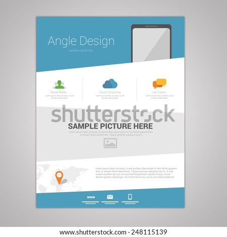 Flat angle design newsletter template