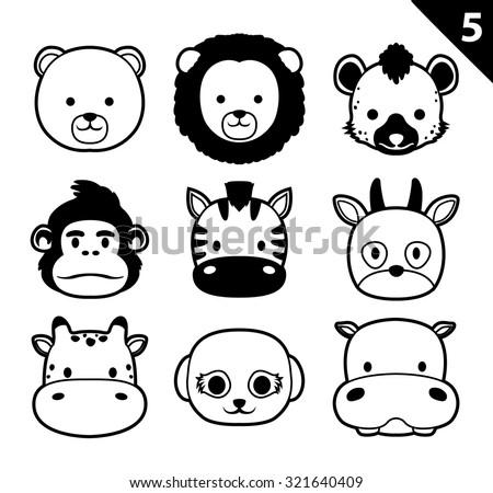 Flat Animal Faces Monochrome Icon Cartoon Vector Set 5 (Safari) - stock vector