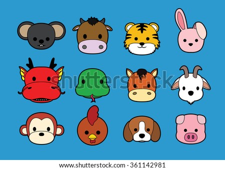 Flat Animal Faces Stroke Icon Cartoon (Chinese Zodiac)