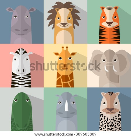 Flat animal icon set with shadow. African animals collection. Finger animals - stock vector