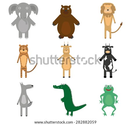 Flat animals. bear, frog, lion, elephant, cow - stock vector