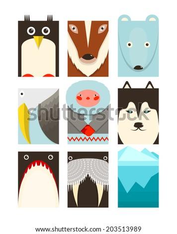 Flat Arctic Symbols Set. North pole animals collection. Vector layered EPS8 illustration. - stock vector