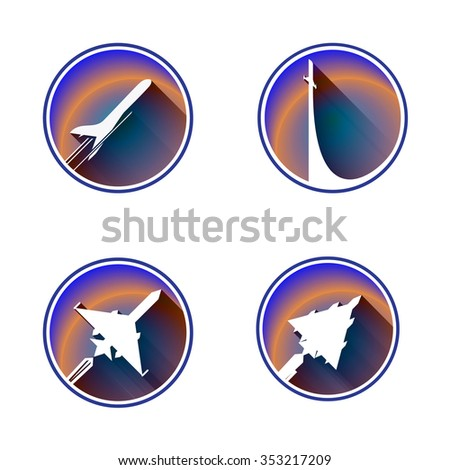 Flat Aviation Icon Set . Vector images are isolated on a white background. - stock vector