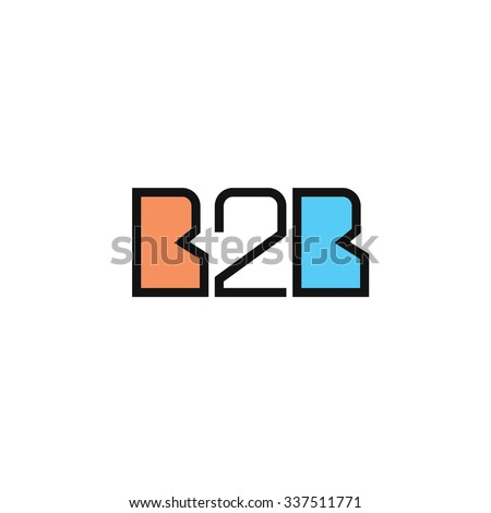 Flat B2B letters logo template icon in outline linear style. - stock vector