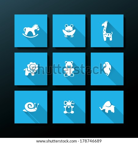 Flat baby toy icon set - vector illustration