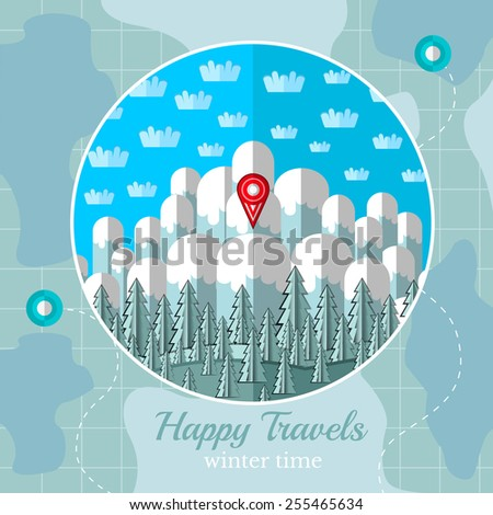 Flat background vector map circle frame stock vector 255465634 flat background vector map with circle frame with winter mountains forest and sky sciox Gallery