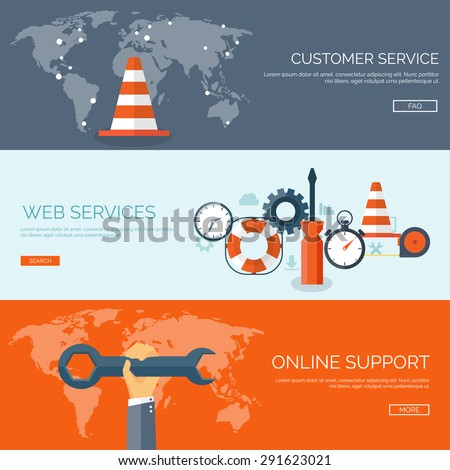 Flat background. Web services. Online support.Hotline. - stock vector