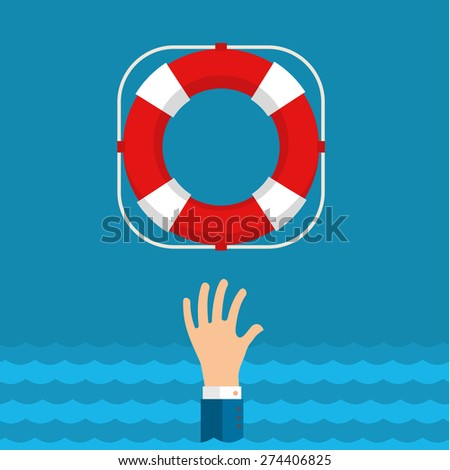 Flat background with hand and lifebuoy. Technical support concept. Online help. - stock vector