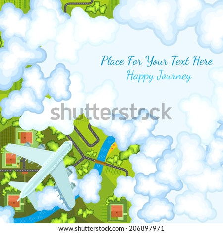 flat background with plane top view above countryside landscape - stock vector