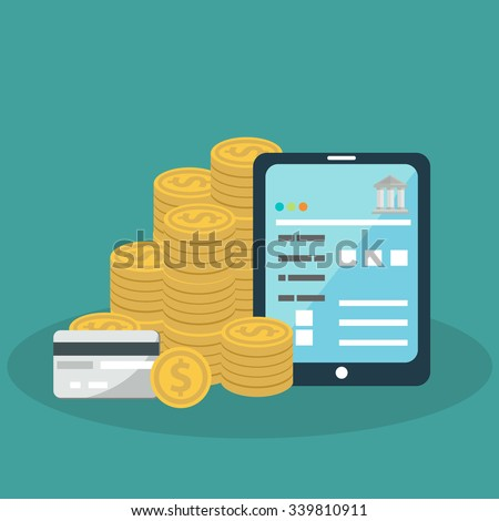 Flat background with tablet, money and bank card. Online banking. Internet shopping. Web store and pay per click. - stock vector
