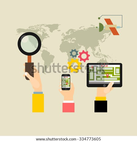 Flat backgrounds set. Navigation and traveling. Map pointer and location finding. Web application. Concepts web banner and printed materials. - stock vector