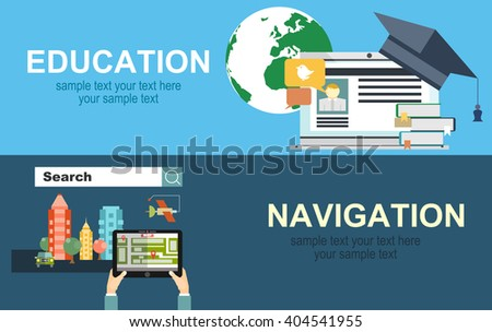 Flat backgrounds set. Navigation and traveling. Map pointer and location finding. Web application.Education and online courses, web tutorials, e-learning. Study and creative process. Video tutorials. - stock vector