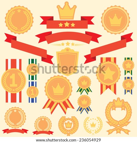 Flat Badges And Labels Winner Set - stock vector
