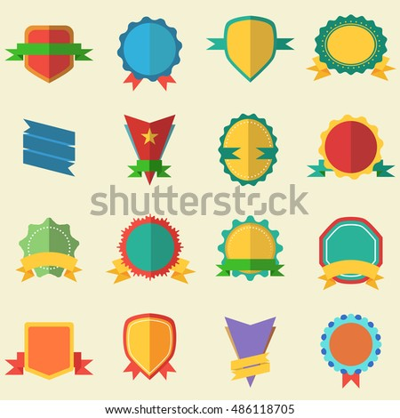 Flat badges 16 different types.Vector illustration.