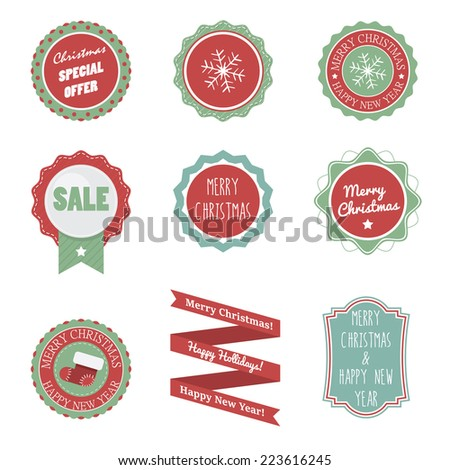 Flat Badges for Christmas and New Year - stock vector