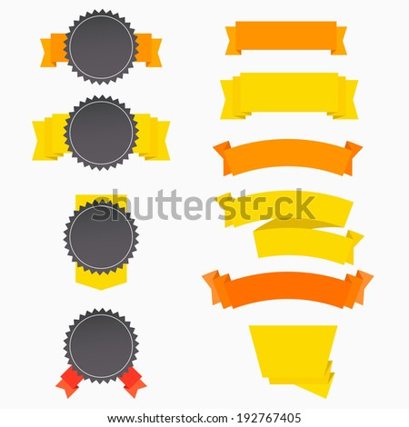 Flat badges label banners templates set with ribbons. Vector illustration - stock vector
