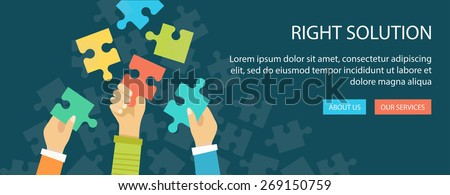 Flat banner of right solution. Hands holding a puzzle pieces. Eps10 - stock vector
