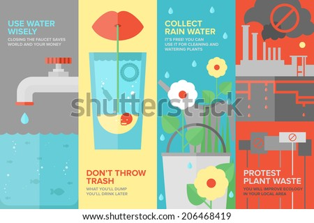 Flat banner set of reusing and saving water more efficiently, water consumption by people, water pollution and environmental protection. Flat design style modern vector illustration concept. - stock vector