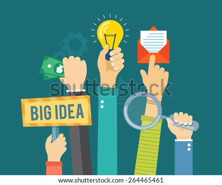 Flat banner with hands holding magnifying glass, bulb, money, envelope and sign. Developing and marketing illustration.  Eps10 - stock vector