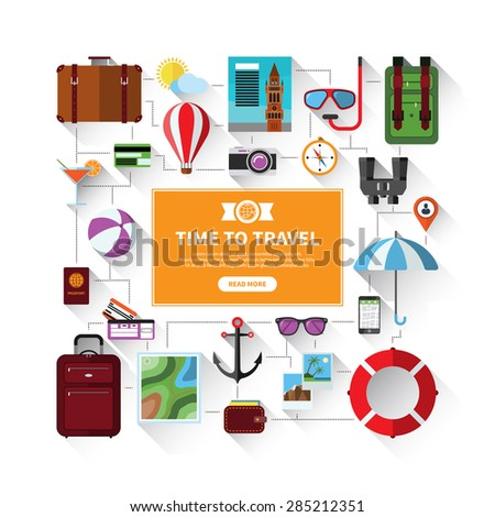 Flat banner with icons set of traveling, tourism, planning a summer vacation. Travel objects and passenger luggage. Isolated on white background - stock vector