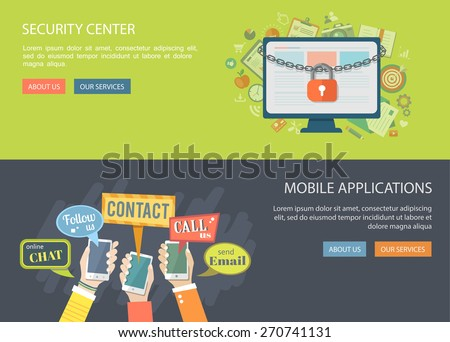 Flat banners set. Illustrations of security center and mobile application. Computer with lock and icons and hands holding phones with speech bubbles.Eps10 - stock vector