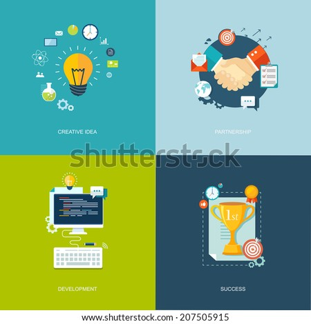 Flat banners set. Research, time management,partnership, success illustrations.Eps10 - stock vector