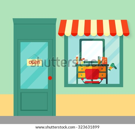 Flat barbershop. Building, interior and equipment icons. Vector illustration - stock vector