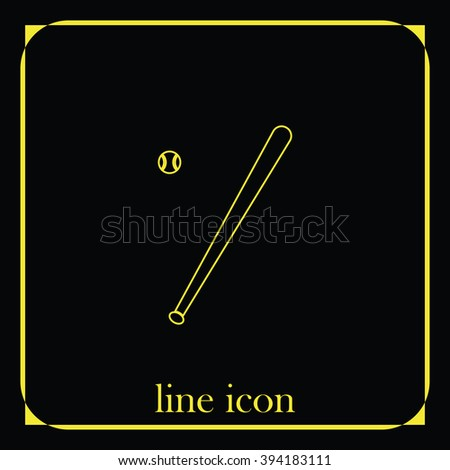 Flat baseball bat icon. Ball illustration. - stock vector