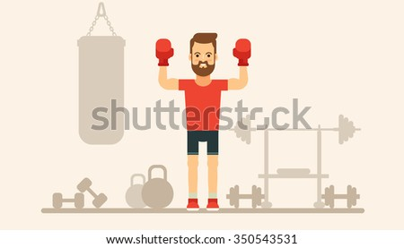 Flat Bearded Boxer. Trainers Silhouettes on Background. Vector Illustration - stock vector