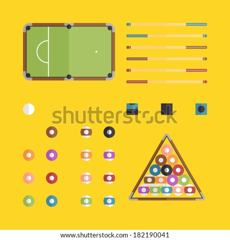 Flat billiards icons design with yellow background - stock vector
