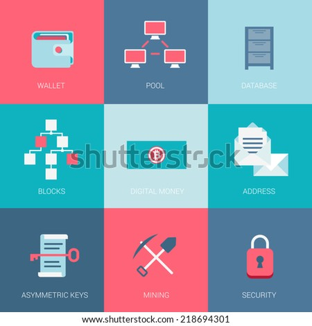 Flat bitcoin cryptocurrency digital money mining blocks pool system web security software database technology design icons set website infographics modern style vector illustration concept collection. - stock vector