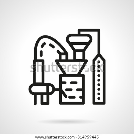 Flat black line design vector icon for plant for processing crops. Food industry buildings. Design elements for business and website - stock vector