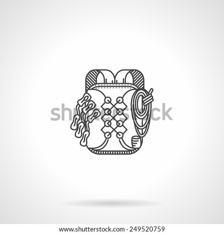 Flat black line vector icon for hike or climbing backpack on white background. - stock vector