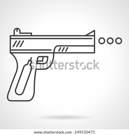 Flat black line vector icon for traumatic air gun for self-defense or sport on white background.