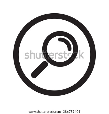 Flat black Magnifying Glass web icon in circle on white background - stock vector