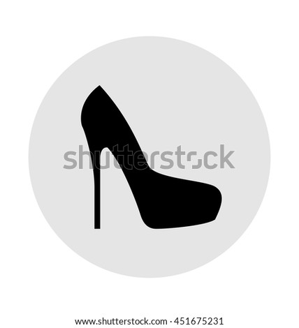 Flat black monochrome shoes icon, elegant woman shoes sign, female symbol, vector illustration - stock vector