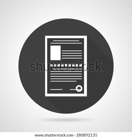 Flat black round vector icon with white contour document form with personal data on gray background. - stock vector