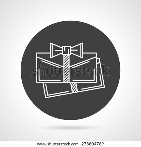 Flat black round vector icon with white line envelopes with ribbon on gray background. - stock vector