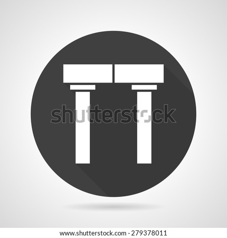 Flat black round vector icon with white silhouette arch with pillars on gray background.  - stock vector