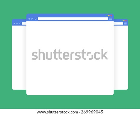 Flat blank browser windows. Vector Template for your content - stock vector