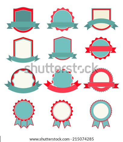 Flat blank labels and ribbons set, vector illustration - stock vector