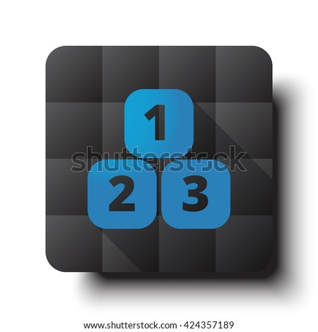 Flat 123 Blocks icon on black app button with drop shadow - stock vector