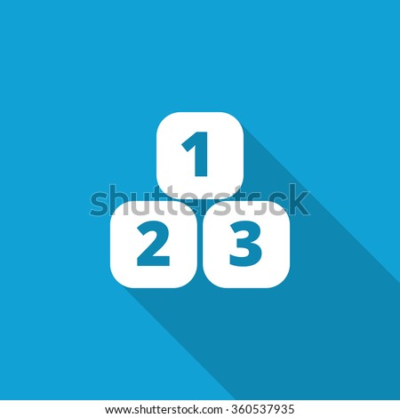 Flat 123 Blocks icon with long shadow on blue backround - stock vector