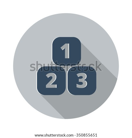 Flat 123 Blocks icon with long shadow on grey circle - stock vector