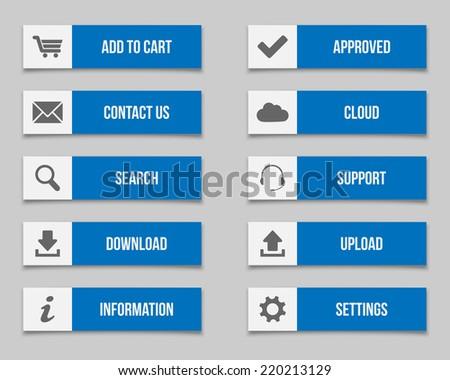 Flat blue buttons set  - stock vector