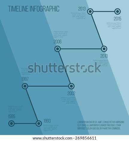 Flat blue diagonal timeline infographic. Vector illustration  - stock vector